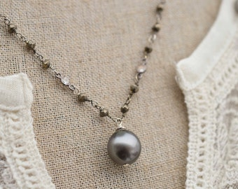 Necklace Tahitian Pearl Necklace Genuine Tahitian Pearl with Brazilian Pyrite and CZ Chain