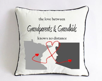 long distance grandpa grand kids pillow case-fathers day gift for grandparents-grandma Xmas gift-grandpa grand kids love knows no distance