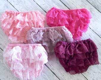 Baby Bloomer Lace Diaper Cover Ruffle Bottom Newborn Petti Photo Prop Smash Cake Dusty Pink Mauve Light Rose Valentine's RTS ready ship
