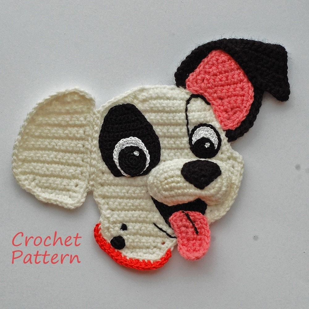 Crochet Pattern. Crocheted 3D Applique. Amigurumi dog ...