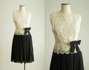 vintage 1960s dress / black and white chiffon dress / medium / Bow Tie Dress