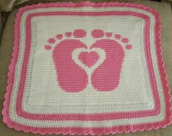 Handmade baby feet crochet blanket