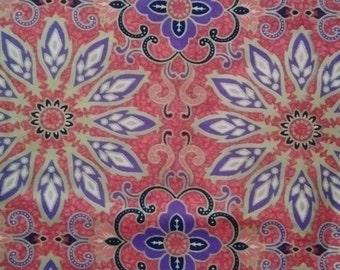 "Vintage Batik Print Fabric 42""x 70"""