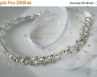 Limited Time Sale-15% Off Crystal Ribbon Headband, Wedding Headband, Bridal Rhinestone Headband, Ribbon Headband