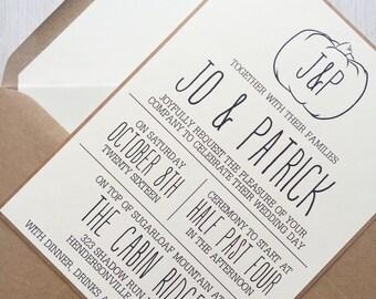 Rustic wedding invitation - Fall wedding invitation - Pumpkin wedding invitation - Kraft wedding invitation