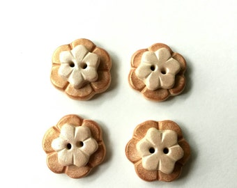Polymer Clay Peach and Pink Flower Buttons - Set of 4 - Sewing, Paper Craft, Bow Embellishments