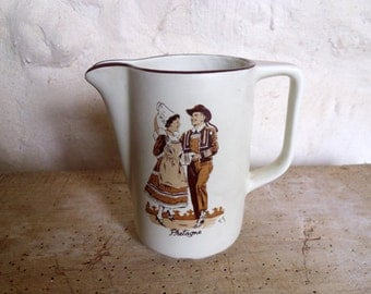 French wine carafe Vintage cider jug French Bretagne jug with dancing couple in traditional costume