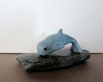 Irrawaddy Dolphin Hand Painted Totem / Cute Clay Animal Figure OOAK / Oceanic Marine Life Nautical