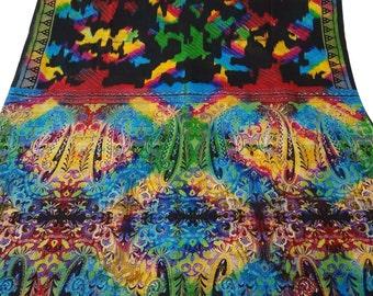 Black Floral Dress Vintage Clothing Art Silk Sari Recycle Traditional Indian Wrap 5Yard Printed Drape Fabric Vintage Saree  PS37098