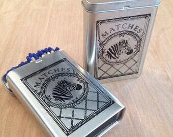 Zebra Match Tin Flip Top