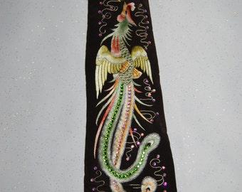 Vintage embroidery phoenix bird rhinestone necktie