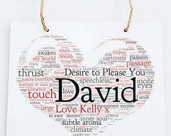 Personalised Love Word Art Wooden Hanging Plaque - Desire