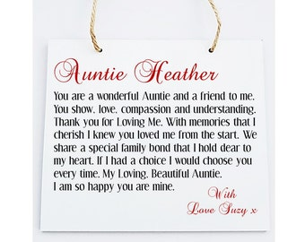 Auntie  Poem Plaque. Personalised Gift. Birthday, Christmas, Weddings, Special occasions