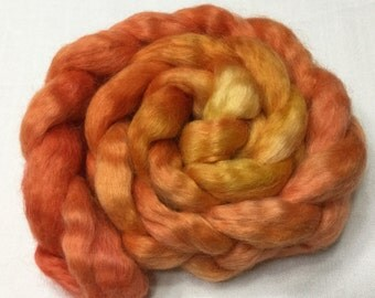 Wensleydale, 100g, Hand Painted, Roving, Felting, Spinning, Fiber, Wool, Longwool, red, orange, gold, 203