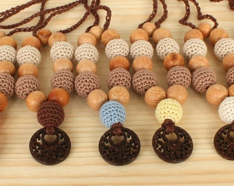 Breastfeeding necklace - Crochet nursing necklace for mom-Necklace with coconat pendant