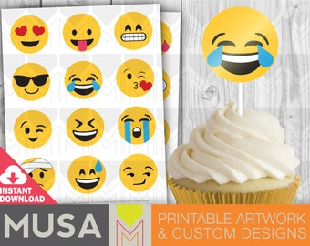 Instant Download: Emoji Cupcake toppers, stickers, labels