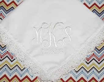 Wedding personalized monogram interlock bride handkerchief or bridesmaid wedding gift, wedding keepsake