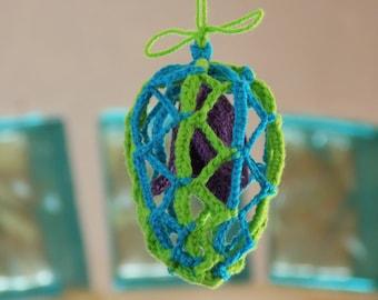 Tutoriel Oeuf de Pâques décoratif au crochet avec fleur, oeuf de Pâques crocheté ajouré à poser ou suspendre, fleurs au crochet, oeuf déco