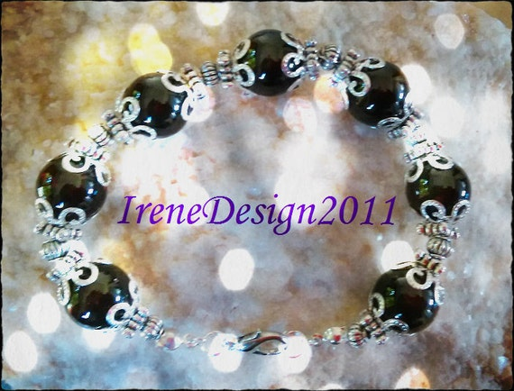 Silver Jewelry Set, Earrings & Bracelet, with Garnet by IreneDesign2011
