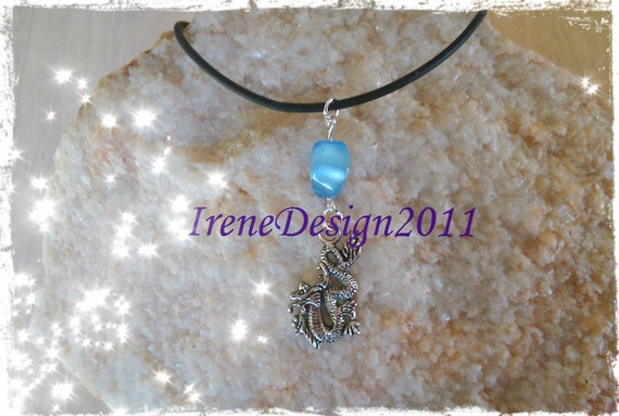 Handmade Leather Necklace with Blue Cat Eye & Dragon by IreneDesign2011