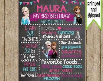 Frozen Birthday Chalkboard- PRINTED & SHIPPED- Custom Birthday Chalkboard- Choose Your Size!!