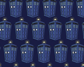 BBC Doctor Who Fabric Police Public Call Box Fabric