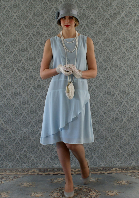 Stylish flapper dress in baby blue Roaring 20s dress Great Gatsby dress Downton Abbey dress 1920s flapper dress robe Charleston dress $130.00 AT vintagedancer.com