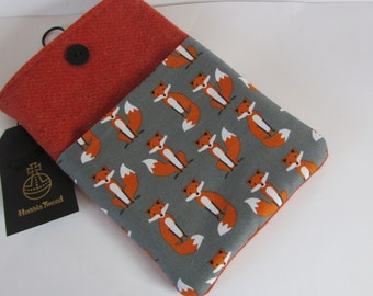 Orange Harris Tweed E Reader / Kindle or Tablet Case/Cover with foxes on pocket