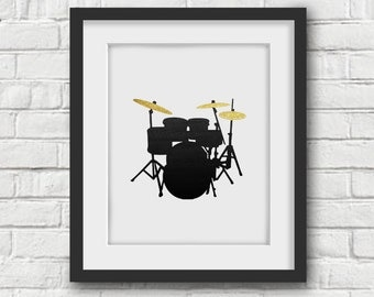 Gift For Musician, Drums Art Print, Drums Wall Art, Instrument Art, Gift for Drummer, Music Art, Music Poster, Instrument Poster