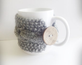 Gray Knit Cup, Knit Coffee Cozy, Cup Warmer,Coffee Cozy,  Coffee Mug Holder, Mug  Warmer , Cozy Cup, Tea Cup Cozy, Gray Decor