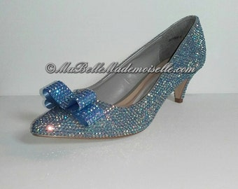 Blue Wedding Shoes, Bling Shoes, Crystal Bridal Shoes, Wedding Shoes, Bow Wedding Shoes, Bow Bridal Shoes, Rhinestone Wedding Shoes