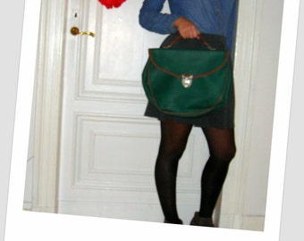 Green satchel / / vintage / / 80 s