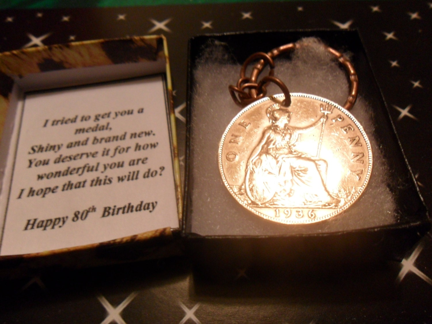 80th Birthday Gift Medal 1937 British Penny Coin Keyring For A
