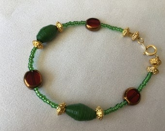 Green and Red Christmas Bracelet