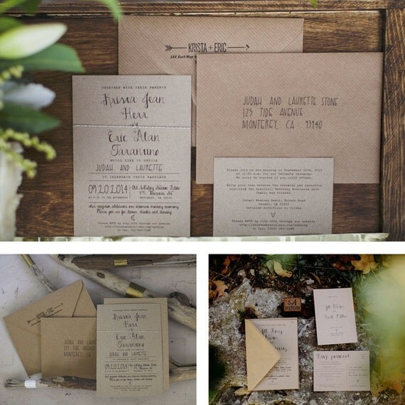 Calligraphy Wedding Invitation Set On Recycled Kraft Card Or
