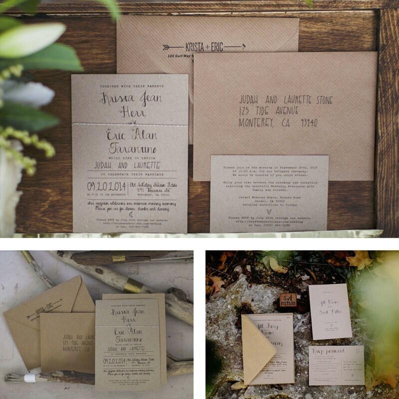 Scroll Wedding Invitations Australia: Calligraphy Wedding Invitation Set On Recycled Kraft Card Or