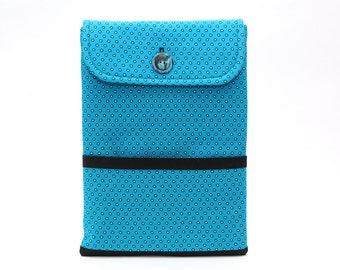 iPad Air Case • iPad Air 2 Case • Polka Dots • Turquoise • Teal Blue • Tablet Sleeve • South African Shweshwe Fabric • Made in Canada