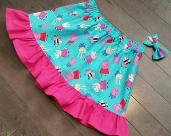 Peppa Pig Skirt and Mini bow