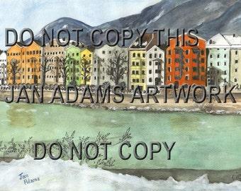 INNSBRUCK AUSTRIA Landscape Watercolor Village Water City Town Europe European Giclee Print Unframed