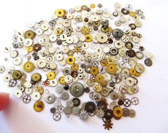 50 PCS Coolest Vintage Art Deco Tiny Watch Parts, Star Gears, Wheel gears, & other gears. Watch Parts, Steampunk Jewelry, Scrapbook #ShTG1