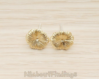 ERG343-MG // Matte Gold Plated Heart Petal Wild Flower Earpost, 2 Pc