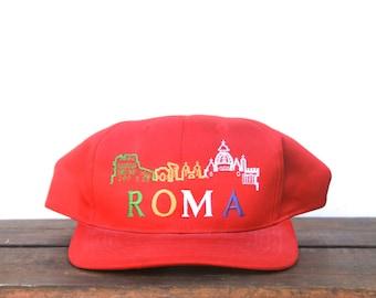 Vintage Rome Roma Italy Tourist Trucker Hat Snapback Baseball Cap