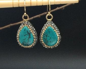 Turquoise Earrings,Teardrop Earrings, Pave Swarovski Crystal Earrings, Statement Earrings, Gold Earrings, Earrings Under 70
