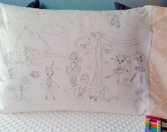 Color Me A Ballerina/White Minky Dot Pillowcase