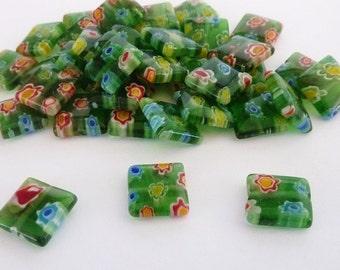 40 pce Vibrant Green Flat Square Millefiori Glass Beads 10mm x 10mm