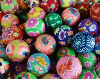 40 pce Handmade Polymer Clay Round Beads about 12mm
