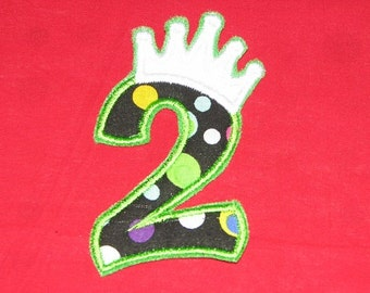 Princess Birthday Number 2 Iron on No Sew DIY Embroidered Patch Applique