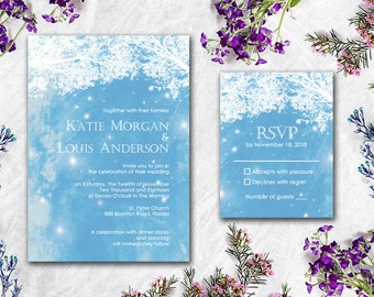 Digital - Printable Files -  The Tree and Lights Wedding Invitation and Reply Card Set - Wedding Stationery - ID604