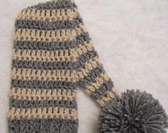 Crochet Elf Hat Newborn Photo Prop, Gray And Tan, Ready To Ship, newborn elf hat, striped elf hat, elf hat photo prop, crochet elf hat