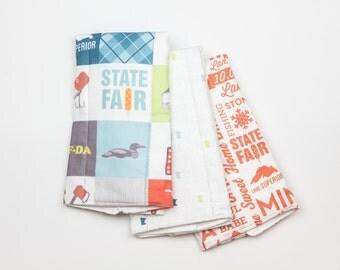 "Burp cloths – Minnesota 3 pack - 12""x18"", cloth diaper, absorbent, state, minneapolis, st. paul, twin cities"